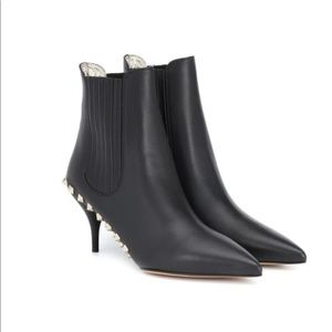 Valentino Studded Black Nero Pointed Ankle Booties